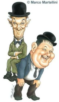 Caricature of Laurel and Hardy Laurel And Hardy, Stan Laurel Oliver Hardy, Cartoon Faces, Funny Faces, Cartoon Art, Cartoon Characters, Funny Caricatures, Celebrity Caricatures, Caricature Drawing