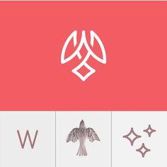 62 Ideas Bird Logo Design Inspiration Simple For 2019 Graphic Design Posters, Graphic Design Typography, Graphic Design Illustration, Branding Design, Logo Evolution, Logo Web, Type Logo, Angels Logo, Learning Logo
