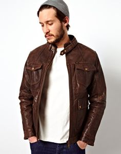Lee Leather Jacket Zip Biker Quilted Lining
