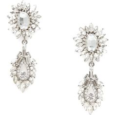 Verbena Clear Crystal Drop Earrings ($25) ❤ liked on Polyvore featuring jewelry, earrings, silver, sparkle jewelry, post drop earrings, floral earrings, floral jewelry and holiday earrings