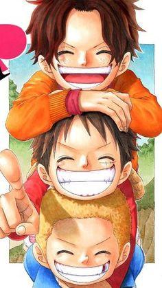 Ace, Luffy, and Sabo _One Piece Anime Chibi, Manga Anime, Film Manga, Anime Art, One Piece Manga, One Piece Drawing, One Piece Fanart, Monkey D Luffy, Series Manga