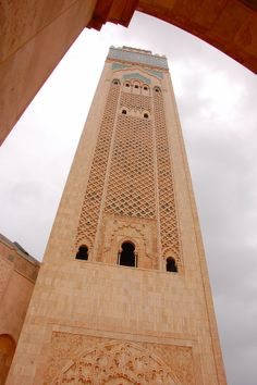 At 210 meters, this minaret is the tallest religious structure in the world.  It has a laser beam at the top which points towards Mecca in the evening.  Hassan II Mosque, Casablanca, Morocco.