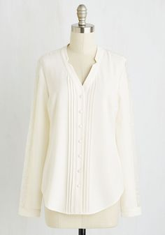 Collected Coordinator Top in Ivory. Your key to staying relaxed and on-task amidst meetings and projects is this cream colored blouse - part of our ModCloth namesake label! #white #modcloth