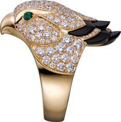 Les Oiseaux Libérés ring Yellow gold, emeralds, onyx, diamonds
