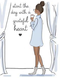 Wall Art - Art for Women - Grateful Heart - Scoks and Shirts Fashion Illustration - - Art for Women - Inspirational Art