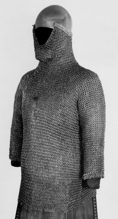 European (German) riveted mail hauberk with basinet and riveted mail aventail (prob German). 13th to 14th century, Royal Armouries, Leeds, UK.