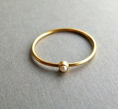 14k Gold Ring - Gold pearl ring - Delicate Gold Ring - Engagement Ring