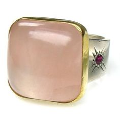 Evangelatos Rose Quartz Ring, 18k Gold, Sterling Silver, a Rose Quartz and Rubies. This and more handmade Greek jewelry at Athena's Treasures: www.athenas-treasures.com
