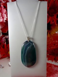 Natural Genuine Stone Pendant - TEAL and PURPLE Onyx Agate OVAL Pendant - 18KGP Crystal Pendant Sterling Silver Snake Chain Necklace by ChrysalisCrystalGems on Etsy