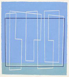 Josef Albers, In Open Air, 1936, oil on masonite, 20 × 17 in. (50.8 × 43.2 cm) | blue geometric abstract art
