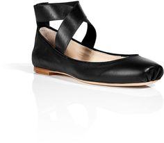 Chloè Black Leather Elastic Ankle Strap Flats - Lyst