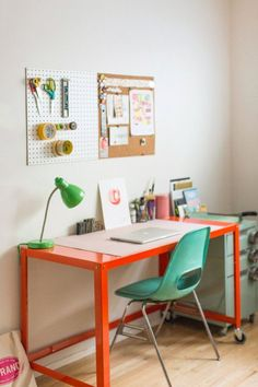 dream office | orange desk | workspace | retro california | design*sponge
