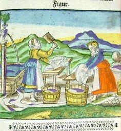 """Hand-colored woodcut """"Splendor solis"""" from: Aureum vellus, oder guldin Schatz und Kunst-Kammer.  Rorschach am Bodensee: [s.n.,] 1598."""