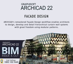 Archicad remastered Facade Design workflow enables architects to design, develop and detail hierarchical curtain wall systems with great freedom using modular patterns. Facade Design, Architecture Design, Building Design Software, Building Information Modeling, Student, Curtains, Freedom, Training, Patterns