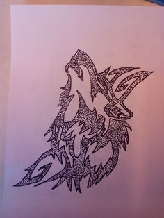 Wolf tribal pointileren