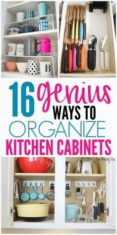 16 Genius Ways To Organize Kitchen Cabinets - 16 Genius Ways To Organize Kitchen Cabinets – Organization Obsesssed - #cabinets #genius #kitchen #organize #Ways