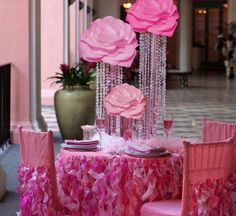 Wedding, Pink, Centerpiece, Flower, Crystal, Tall, Vase, giant flower!