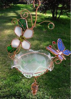 Hanging Dish Feeder/Mini Bath Stained Glass