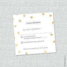 """Carte Réponse Mariage  """"Un Jour d'Amour"""" Noir, Blanc et paillettes doré"""