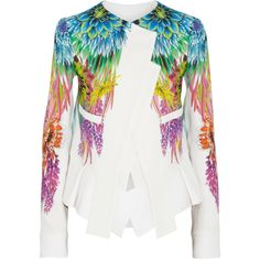 Just Cavalli Floral-print crepe blazer ($548) ❤ liked on Polyvore featuring outerwear, jackets, blazers, tops, coats, white, white floral jacket, floral blazer, floral jacket and multi colored blazer
