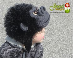 Crochet Gorilla Animal Hat Pattern for Baby, Toddler, Child, Teen, Adult, Boys and Girls - Gorilla (Monkey) - Photo Prop or Costume by JENIASdesigns on Etsy