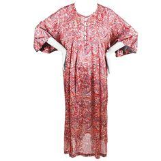 Vintage Oscar de la Renta Red & Gray Satin Printed & Textured Muumuu Dress