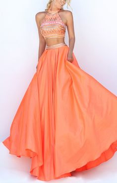 Prom dresses Two Piece Sherri Hill 50310 Halter Embellished Orange Beaded Prom Dress 2016 Prom Dresses 2016, Sherri Hill Prom Dresses, Grad Dresses, Dance Dresses, Formal Dresses, Prom 2016, Quinceanera Dresses, Prom Gowns, Wedding Gowns