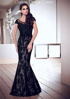Gorgeous Lace on Tulle Over Charmeuse Mermaid Gown with Illusion Neckline, Sheer Cap Short Sleeves, Lace Applique Throughout Fitted Bodice, Natural Waist with Beaded Belt, Mermaid Floor Length Skirt, Low Back with Back Covered Buttons Over Zipper Closure. #motherofthebride #eveninggown #customdreamgowns