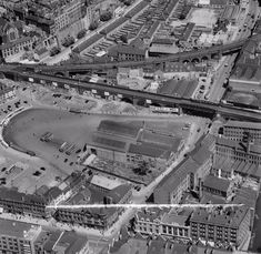 Broad Marsh bus station, Nottingham, Canal Street runs from top to bottom of the image towards the right hand side. Weekday Cross Junction is towards the top left with the Lace Market beyond and Carrington Street runs from left to right in the foreground. Bus Station, Train Station, Nottingham Station, Nottingham Lace, Street Run, History Photos, Old Photos, City Photo, England