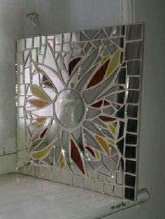 Mosaic Sunburst Wall Mirror, Broken Mirror and Stained Glass Mosaic