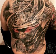 Samurai Dragon Mask Tattoo by Boris Tattoo Helmet Tattoo, Mask Tattoo, Tattoo Art, Back Tattoos For Guys, Full Back Tattoos, Asian Tattoos, Black Tattoos, Samurai Maske Tattoo, Tattoo Mascara