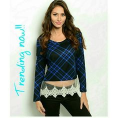Cozy plaid knit long sleeve sweater top. PLAID IS EVERYWHERE THIS SEASON!! These are BRAND NEW!This cozy plaid knit long sleeve sweater top features a sheer lace trim hem panel. The material is 96%polyester and 4%spandex. I have small medium and large available.  I will make you a seperate listing!:) Tops Blouses
