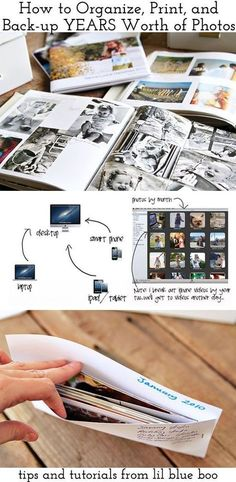 How to Organize and Print Years Worth of Photos This is a great article on how to organize, print, and backup photos - especially if you have photos sitting around from years ago up to the present. The lady goes through storing digital copies and physical