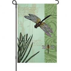 """Dragonflies and Cattails"" Printed Seasonal Garden Flag; Polyester 12""x18"" #summertime #summer #banners #gardenflags #flagsaflying"