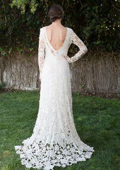 Boho Wedding Dresses with Color | low-back-bohemian-lace-wedding-dress-sheer-long-sleeve