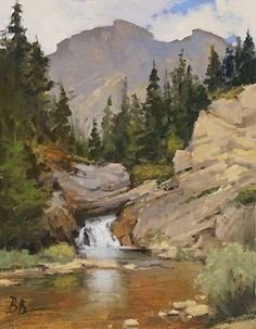 Running Edge Falls, Glacier National Park by Brian Blood, Oil, 14 x 11 Mountain Mural, Mountain Paintings, Mountain Landscape, Snow Mountain, Watercolor Landscape, Landscape Art, Landscape Paintings, Watercolor Paintings, Landscapes