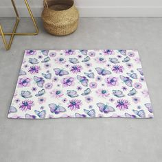 Buy Purple Butterflies Flying Rug by augustinet. Worldwide shipping available at Society6.com. Just one of millions of high quality products available. Butterflies Flying, Purple Butterfly, Accent Pillows, Duvet, Clock, Tapestry, Art Prints, Blanket, Rugs