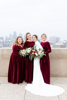 Classic Burgundy and Navy Winter Wedding with Pronovias Gown from Bridal Extraordinaire, Veil from Etsy, Jewelry from Kay Jewelers, Flowers from Adorn Floral Design Studio, Photos at the WWI Museum and Reception at 28 Event Space Navy Winter Weddings, Winter Bridesmaids, Velvet Bridesmaid Dresses, Bridesmaid Dresses With Sleeves, Weeding Dresses, Burgundy Maxi Dress, Kansas City, Sashimi, Dresser