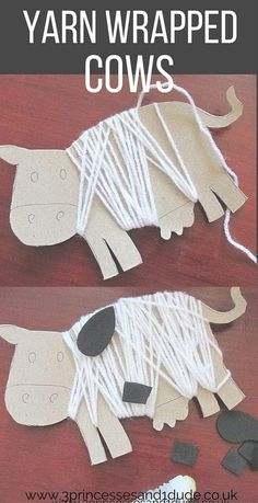 This yarn wrapped cow craft looks just right for preschoolers! Farm Animals Preschool, Farm Animal Crafts, Farm Crafts, Preschool Crafts, Animal Activities For Kids, Cow Appreciation Day, Farm Lessons, Cow Craft, Eyfs Activities