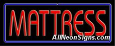 """Mattress Neon Sign-10260  13"""" Wide x 32"""" Tall x 3"""" Deep  110 volt U.L. 2161 transformers  Cool, Quiet, Energy Efficient  Hardware & chain are included  6' Power cord  For indoor use only  1 Year Warranty/electrical components  1 Year Warranty/standard transformers."""