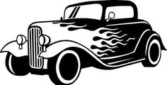 Flaming car wall decal auto old fashioned route 66 decal boys room decor