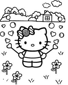 Hello Kitty Playing In The Garden Coloring Page