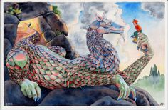 The Boy and the Dragon. Fantasy, children's decor, painting, drawing, watercolor, archival art print.