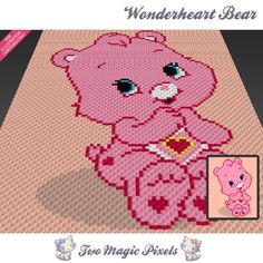 Wonderheart Bear crochet blanket pattern; knitting, cross stitch graph; pdf download; no written counts or row-by-row instructions by TwoMagicPixels, $3.79 USD