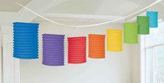 Rainbow Paper Lantern Garland   12'