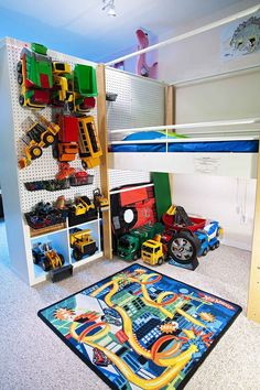 Pegboard kids storage