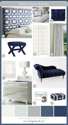 Modern Glamour Bedroom- Finally found my navy blue bedroom