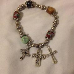 3 Cross Bangle Bracelet  3 Cross stretchy bangle bracelet for sale! It fits my wrist and I wear a 3 inch bracelet  None Jewelry Bracelets