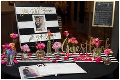 Today's super chic wedding was inspired by the uber popular designs of Kate Spade. Brooke and Mitch met at the gym in Utah, where they are currently attending college. Guestbook Ideas, A Pumpkin, Uber, Chic Wedding, How To Memorize Things, Kate Spade, Wedding Inspiration, College, Gym