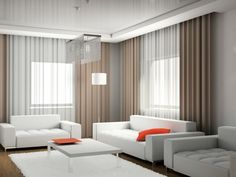 doubles rideaux et déco de salon de design moderne